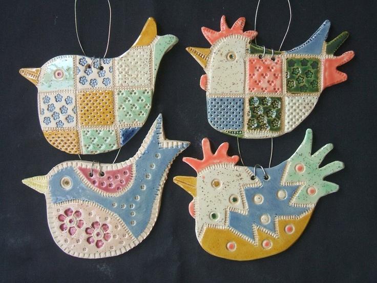 ceramic birds. Lovely patchwork patterns.
