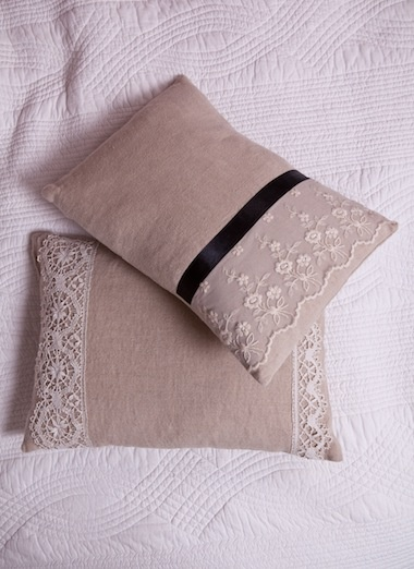 Linen and Lace Cushion