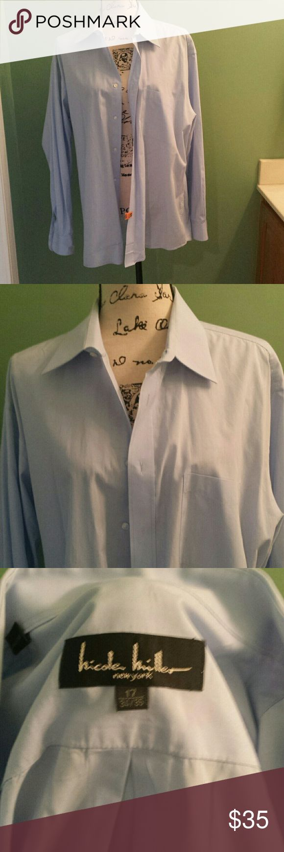 Men's Dress shirt Light blue long sleeves , one pocket on right side. It's dry clean and starched already. Excellent condition hi cole miller Tops Button Down Shirts