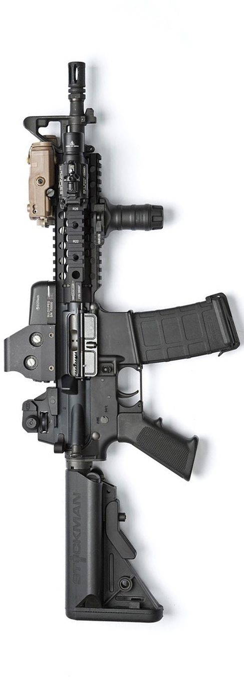 MK18/CQBR inspired build with a Centurion Arms rail and upper, Eotech 553, PEQ15, SureFire X400, and Magpul PMAG. By Stickman.