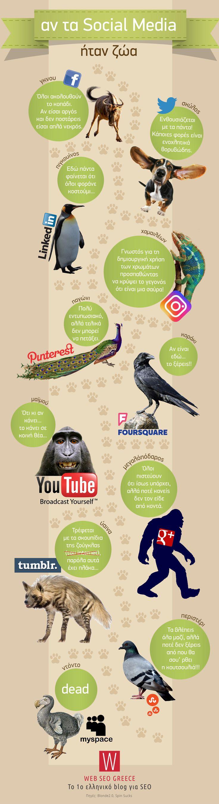 Αν τα Social Media ήταν ζώα [INFOGRAPHICS]
