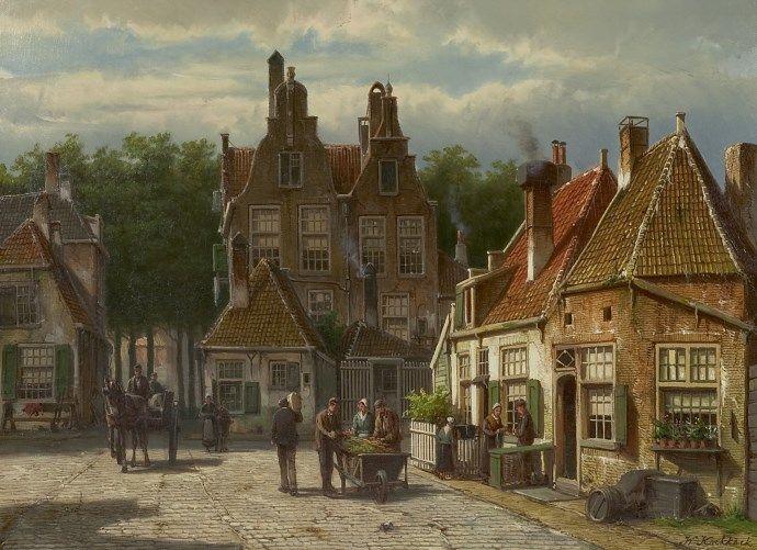 Willem Koekkoek (Amsterdam 1839-1895 Nieuwer-Amstel (Amstelveen)) Dorpsbewoners op een zonnig plein - Kunsthandel Simonis en Buunk, Ede (Nederland).
