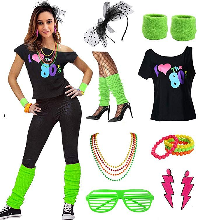 Amazon Com Esrtyeryh Women Costume Womens I Love The 80 S Disco 80s Costume Outfit Accessories Green S M Clothi 80s Party Outfits 80s Costume Disco Costume