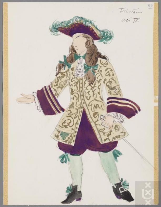 Kostuumontwerp voor Gerard Rückert als Lord Tristan Mickleford Martha door Karel Bruckman   Modemuze
