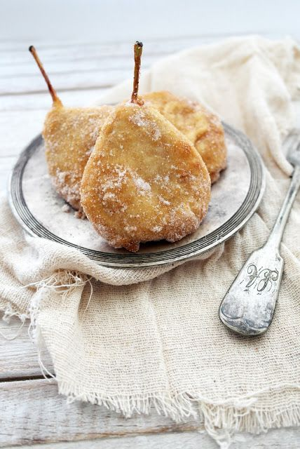 ~ pear fritters with cinnamon sugar ~