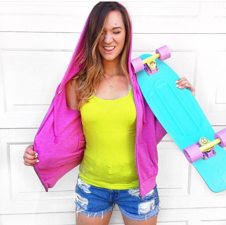 Blue and bright penny board