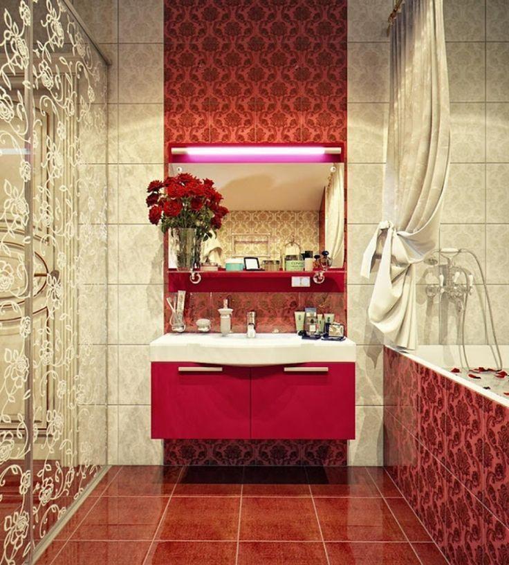 Luxus Badezimmer Ideen Mit Rot Schwebenden Waschtisch Mit