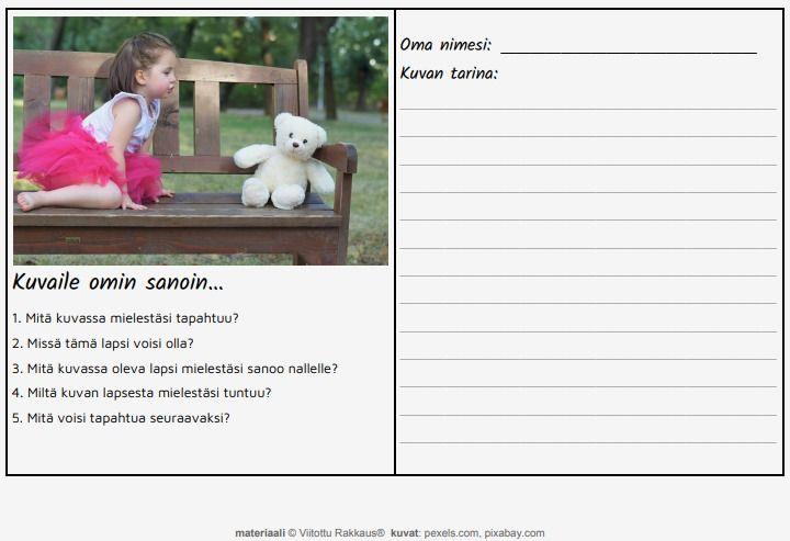 Näiden tehtävien avulla lapsi voi harjoitella kuvanlukutaitoa, kysymyksiin vastaamista ja tarinallista kerrontaa. Vahvistaa päättelykykyä ja taitoa ymmärtää puhuttua kieltä. #viitotturakkaus