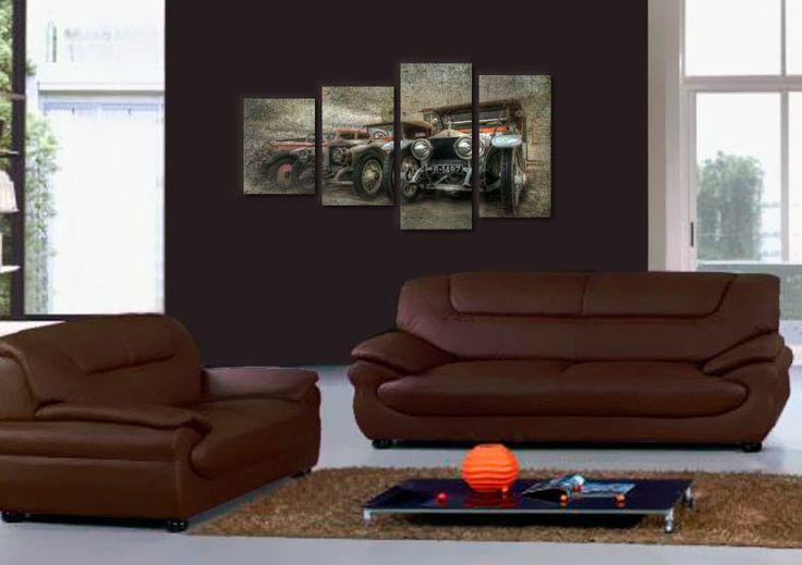 Tablou cu masini oldtimer, din 4 piese, ideal pentru biroul dvs.