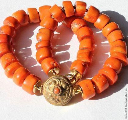 "Колье ""Старый английский коралл"" - оранжевый,колье из коралла,винтажное колье"