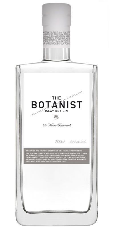 With pure lines, lots of glass, and almost no label, this elegant Botanist package really shows off the gin.