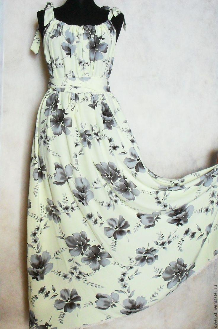 Купить Сарафан длинный, летний, из вискозы - цветочный принт, длинный сарафан, сарафан в пол