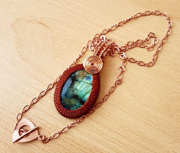 Labradorite pendant, Gemstone pendant, Wire wrapped pendant, Handmade Jewellery, Gift for her, female jewellery, ladies pendant, Blue bead by SweetgemsDesign on Etsy