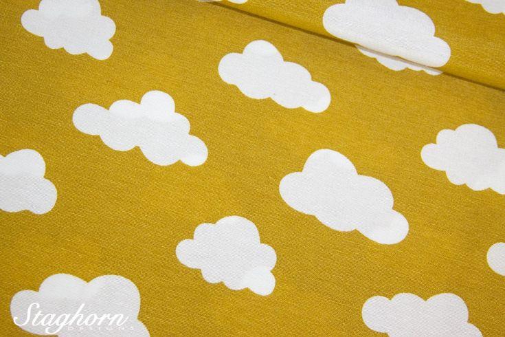 Dekostoff *Wolken* ocker - Fester Baumwollstoff - Top Preis