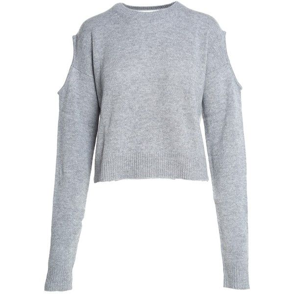 Mcq Alexander Mcqueen Cold-Shoulder Wool-Blend Jumper (17,360 INR) ❤ liked on Polyvore featuring tops, sweaters, grigio, crewneck sweater, cut out shoulder sweater, grey crew neck sweater, ribbed crew neck sweater and cold shoulder sweater