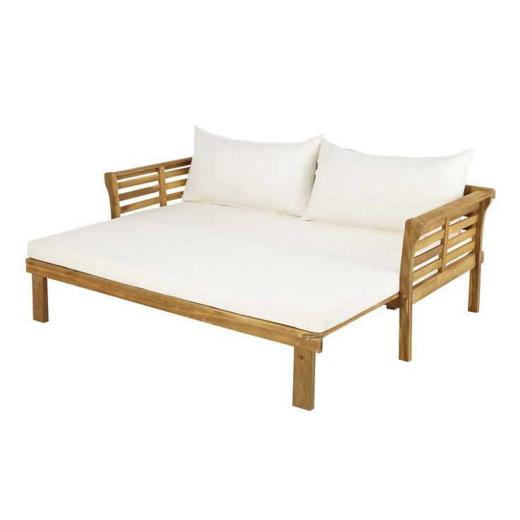 Divanoletto 2/3 posti in legno massello di acacia e tela