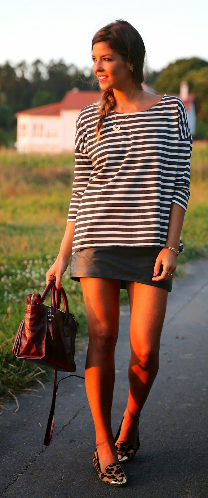 Everyday New Fashion: Leather And Stripes by TrendyTaste