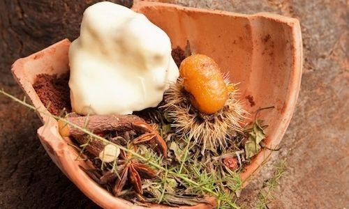 Ritorno all'autunno - Alle soglie della primavera, un complesso dessert ci immerge tra i profumi dei boschi appeninici   Chef Giuseppe Iannotti
