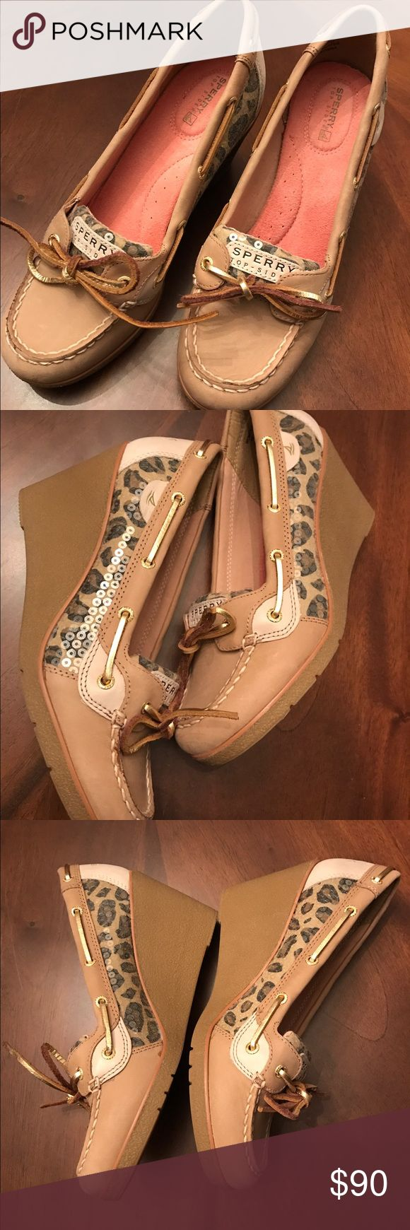 Sperry wedge loafers in goldfish (Leopard) Brand new! Never worn! Size 9, true to size, just a little big for me, I have 2 other pairs, I love them! Cozy slip ons. Sperry Top-Sider Shoes Wedges