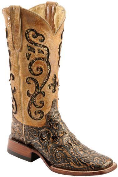 3f18c84b4c Ferrini Embossed Glitter Inlay Cowgirl Boots - Wide Square Toe - Sheplers