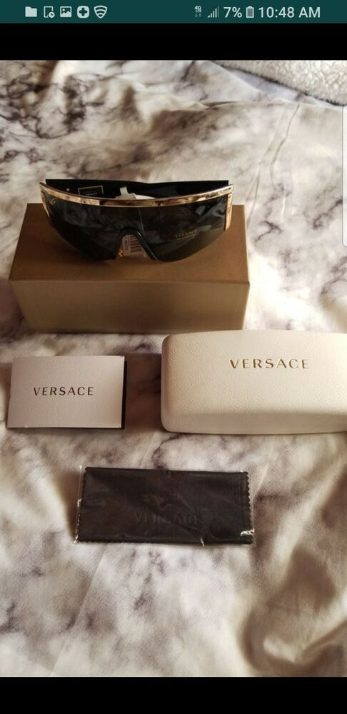 b83c1a0811b8a NEW Genuine VERSACE TRIBUTE Black Gold Grey Shield Sunglasses VE 2197  1000 87 D  fashion  clothing  shoes  accessories  mensaccessories ...