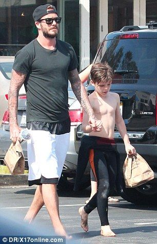 Good dad:David goes for a burrito from mexican food chain Chipotle with…