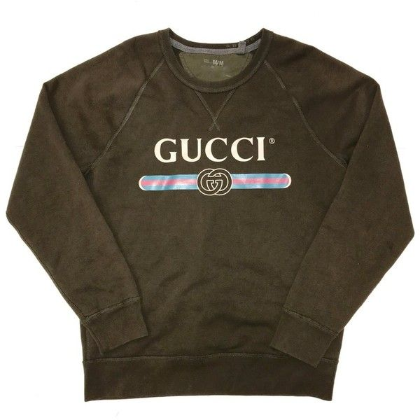1ec77e796 Gucci Sweatshirt Army Green ($65) ❤ liked on Polyvore featuring tops,  hoodies, army green top, gucci top, gucci, olive top and brown top