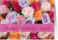17th birthday Aunt, colorful rose bouquet Card by Greeting Card Universe. $3.00. 5 x 7 inch premium quality folded paper greeting card. Flowers & Garden greeting cards & photo cards are available at Greeting Card Universe. Flowers & Garden cards are always more memorable when they are sent the old-fashioned way. Turn to Greeting Card Universe for all your Flowers & Garden card needs. This paper card includes the following themes: photo, photography, and studio porto sabbi...
