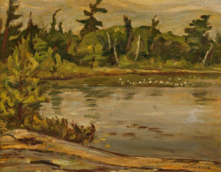 A.Y. Jackson - Lake in Summer Algoma 10.5 x 13.5 Oil on panel
