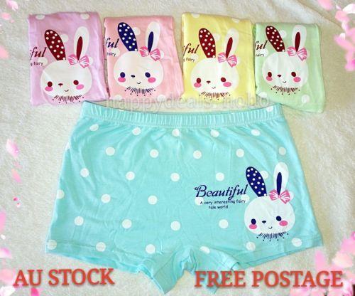 NEW Size 4-6 L Blue Girl Underwear Shortie Boxer Brief Cotton Knicker Undies