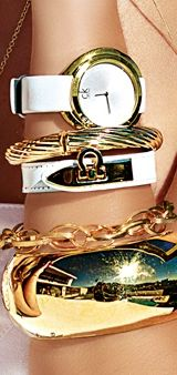 Stack you wrist full of gold pieces from American Swiss this summer! #2014summertrend #iheartswiss
