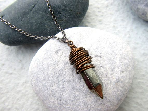 Cool Mens Necklace Pendant Necklace Bullet Necklace Spike Necklace Gemstone Jewelry Wire wrap Pyrite Pendant on Etsy, 25,80 $