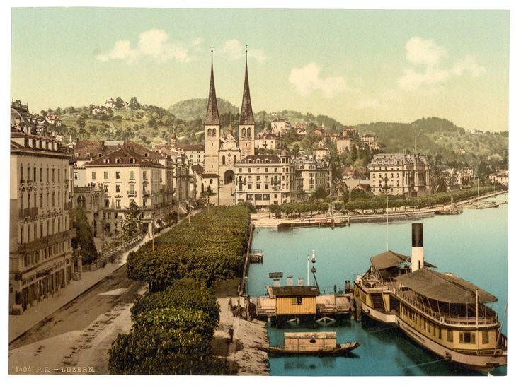 Vue sur les quais, la cathédrale et l'Hôtel du Cygne à Lucerne (LU)  / Library of Congress