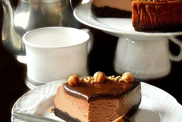 Cheesecake al caffè e nutella e glassa al cioccolato