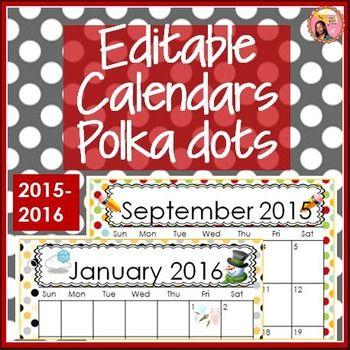 Calendar, December 2017 Through December 2020 Editable Calendars 2019 2020 Polka Dot to December 2020