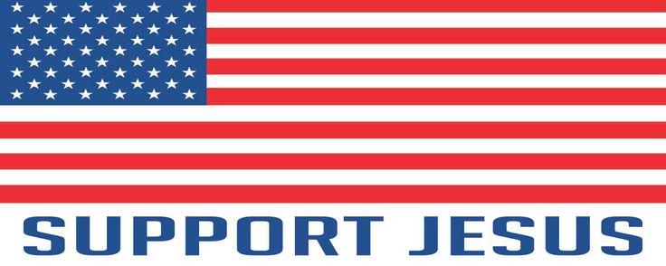 10in x 3in Support Jesus American Flag Bumper Sticker Vinyl Window Decal