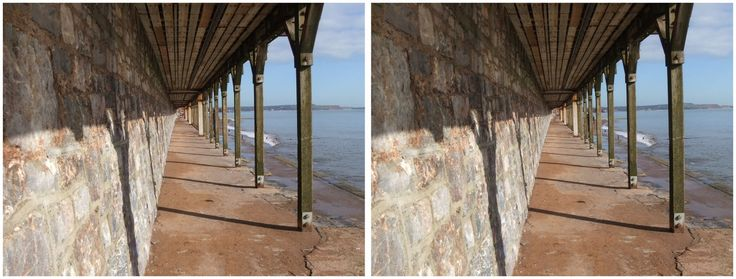 Dawlish 3D view columns by the sea 2015