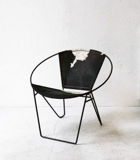 Cowhide Round Occasional Chair