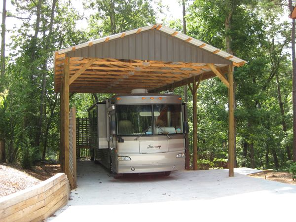 17 best ideas about rv shelter on pinterest rv covers for Motorhome garage kits