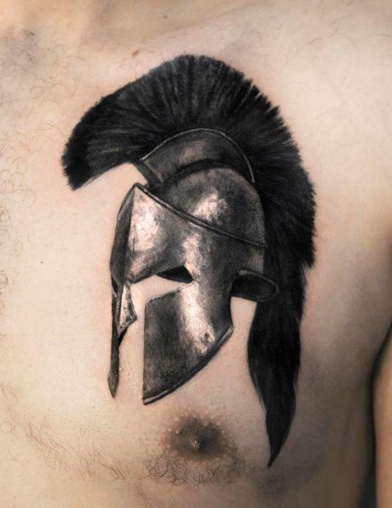 Spartan Warrior Helmet Tattoo By Dionisis. Limited