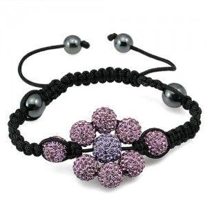 Crystal Shamballa Beads Purple Flower Shape Adjustable Bracelet