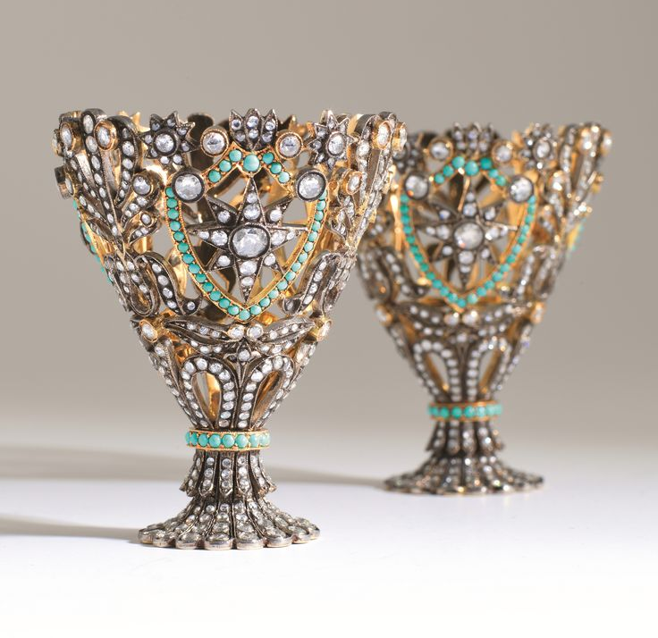 An Ottoman gold and jewelled coffee cup holder (Zarf), from the collection of Sadberk Hanım Museum (Pharyah)