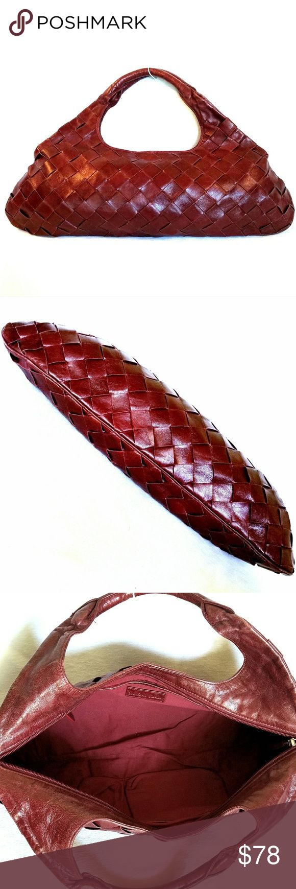 """SABRINA SCALA Statement Clutch DREAMY maroon/red, italian leather clutch in a basket-weave design by Sabrina Scala will floor you when you see it in person! It is honestly stunning. It's horizontal length alone, a whopping 21"""", makes this bag a bonifide statement piece! SABRINA Scala Bags"""