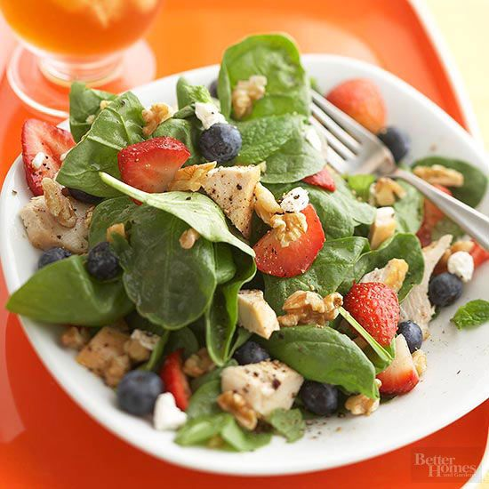 Our fresh and healthful salad recipe features plenty of health-boosting ingredients like antioxidant-rich berries and iron-packed spinach. Goat cheese and lean chicken add heartiness to this easy recipe.