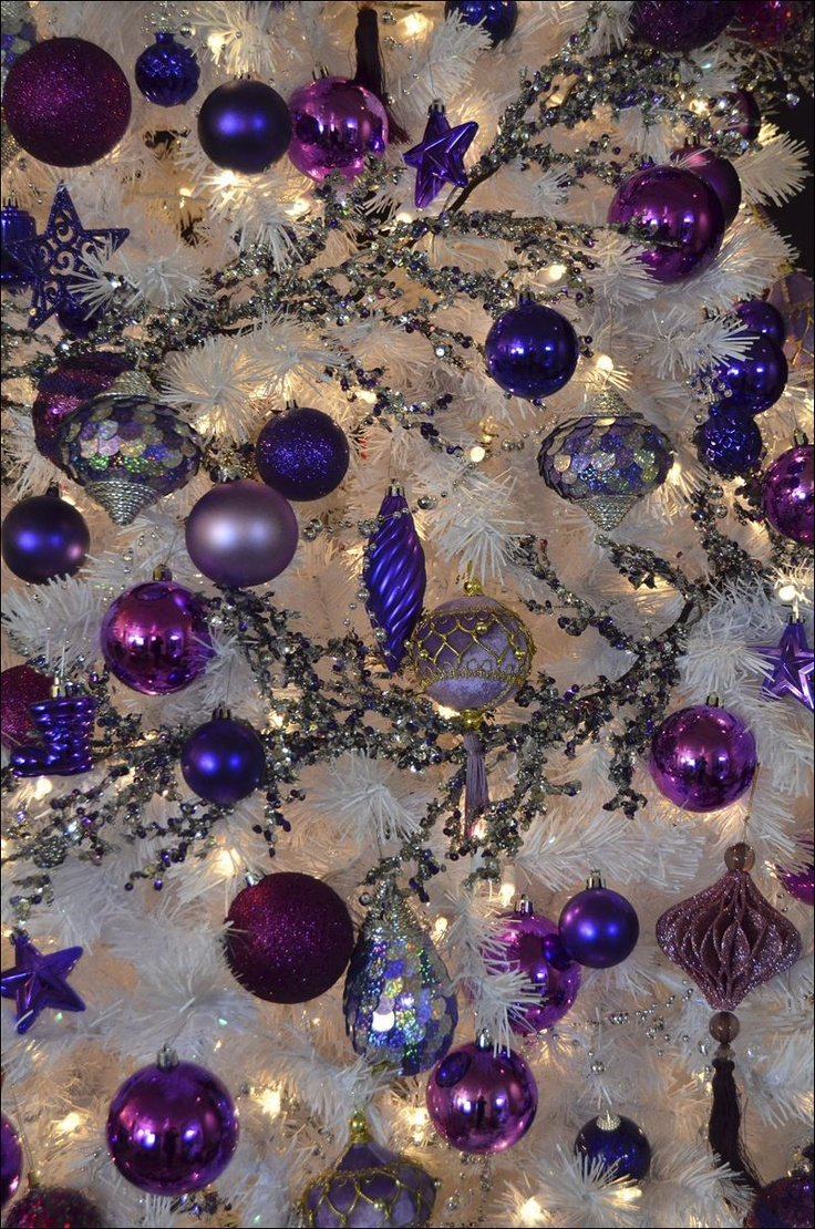 Blue and purple christmas tree decorations - Christmas Ornaments White Christmas Treespurple