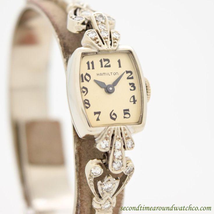 1947 Vintage Hamilton Ladies 14k White Gold & Diamonds Watch