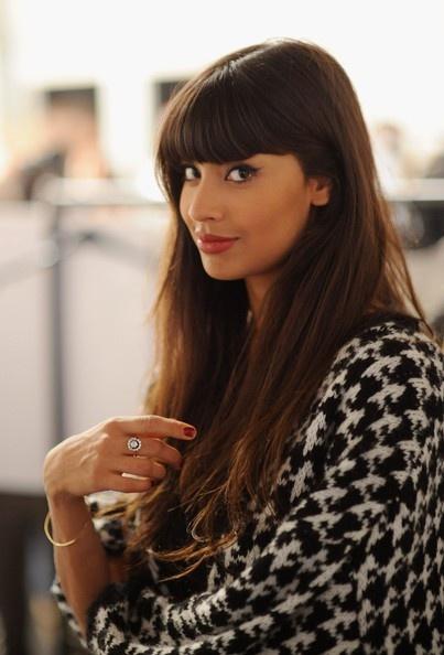 Lovely Bangs: Straight Hair, Blunt Bangs, Cat Eye, Popular Hairstyles, Long Hair, Bangs Bangs, Hair Style, Jameela Jamil, Bangs Hairstyles
