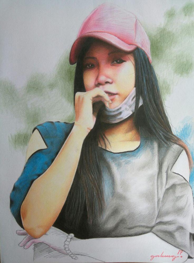 Gadis bertopi merah, beautiful, drawing portrait, pencill on paper 30x40, by ari berta galung