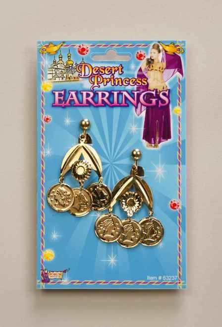 Gold Coin Earrings - These gold sparkling coins are just what you need to complete your Middle Eastern Belly Dancer attire.  These clip-on style earrings are a light weight metal and feature three dangling coins.   These little gems are a great way to finish off your belly dancer, gypsy, Greek goddess, Egyptian Cleopatra, fortune telling or pirate costume...oh my, the possibilities are endless! #yyc #costume #egyptian #jewelry