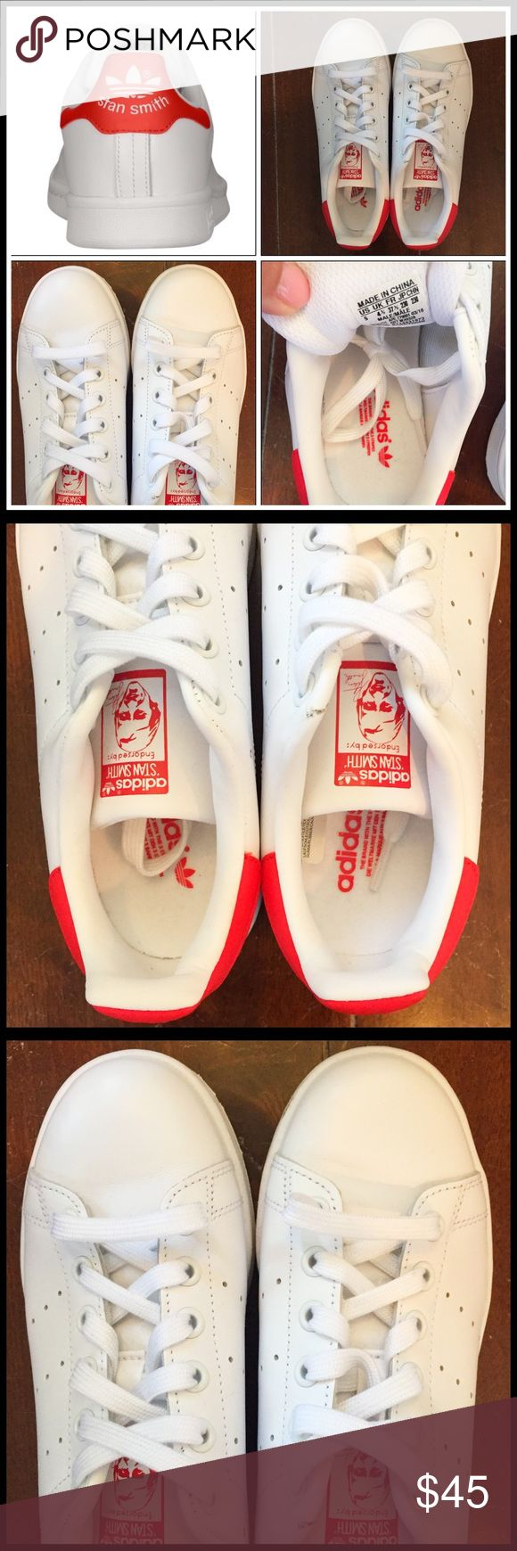 Classic Adidas Stan Smith in White/Collegiate Red! These will never go out of style. Men's 5, runs a bit big, I would try on at local store prior to buying these if you're not familiar with Stan Smith sizing. Perfect for summer! So cute. Store sample, worn indoors only. Great find! Will ship within 24 hours. Adidas Shoes Sneakers